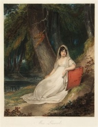 miss linwood, full-length seated figure in a woodland setting by peltro william tomkins