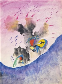 cloudburst (illustrated) (+ flying objects; 2 works) by conroy maddox