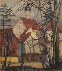 dorfansicht mit kirche (verso: studie liegende frau) by paul bürck