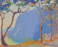 landscape with trees and mountain by margaret jordan patterson