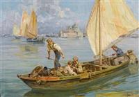fischerboot vor santa maria della salute in venedig by angelo brombo