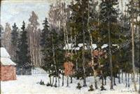 paysage d'hiver en forêt by petr ivanovich petrovichev
