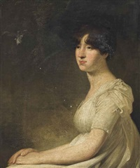 portrait of a lady, half-length, in a white dress by george romney