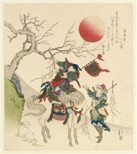 surimono - still life depicting the chinese statesman kanyu on horseback breaking off the branch of a plum tree (shikishiban) by hokkei