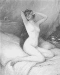 female nude on bed by e. tabari