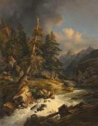 gewitterwolken über einem gebirgsbach by carl haunold