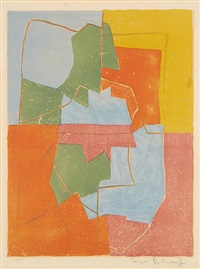composition bleu-vert-jaune-rouge-orange by serge poliakoff