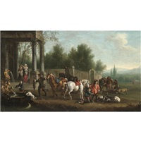 an elegant hunting party resting by a fountain by joseph stephan