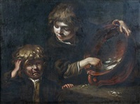 two boys squabbling over a bowl of gruel by bernhard keil