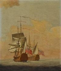 zwei englische kriegsschiffe auf see by anonymous-british