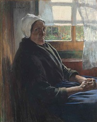 an old woman of katwijk, seated before a window by willy sluijter