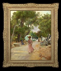 fashionable lady with parasol walking on a coastal lane by lucien laurent-gsell