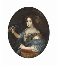 portrait of a lady, half-length, in a lace-trimmed green and gold dress and a blue wrap, her left arm resting on a red cushion and blue flowers in her right hand by pierre mignard