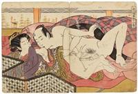 shikidô torikumi jûniban (album of 11, shunga) by isoda koryusai