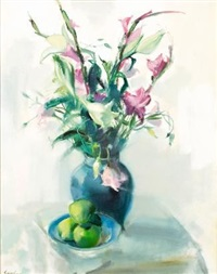 still life with flowers and apples by louis van heerden