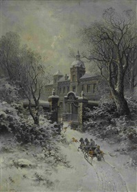pferdeschlitten an der einfahrt zu einem winterlichen palastgarten by jaroslav friedrich julius vesin