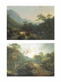a wooded river landscape with a shepherd and his flock on a path, a church beyond; a wooded river landscape with drovers and their herd at rest (pair) by george arnald