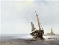 küstenpartie mit gestrandeten segelbooten by louis bentabole