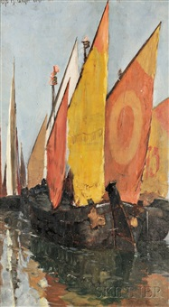 venetian sailboats by otto henry bacher