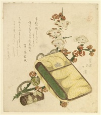 surimono - still life with a tobacco pouch, ojime, netsuke and a spray of flowering plum (shikishiban) by hokkei