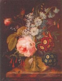 blomsterbukett på marmorsockel by georg frederik ziesel