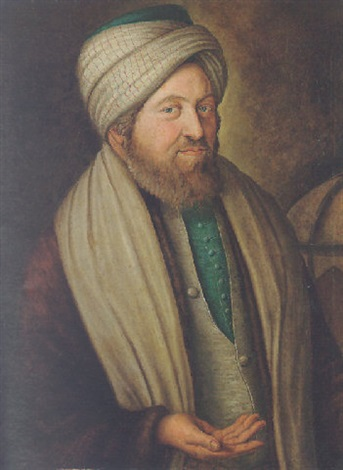 portrait of abraham de lontesano wearing a brown jacket an ivory waistcoat and a turban beside a globe by fw güte