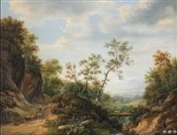 sous-bois accidenté et rocheux animé d'un berger aux moutons près d'un pont by maximilien lambert gelissen