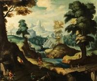 paisaje con cazadores by flemish school