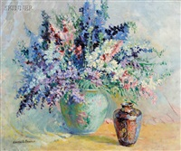 still life with flowers and porcelain jar by harriette bowdoin