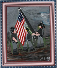 firemen raising flag by bernice sims