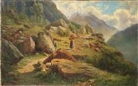 contadina con gerla lungo un sentiero di montagna by federico ashton