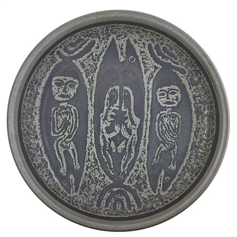 large charger with figures and fish by edwin and mary scheier