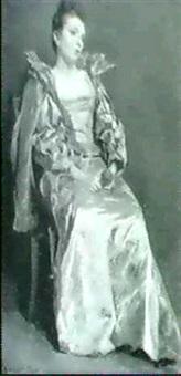 sitzende dame mit veilchenstrauss by vojtech bartonek