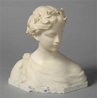 buste de jeune fille couronnée de laurier by gustave van vaerenbergh
