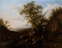 landskap i trakten av genève med herdar och boskap by jean daniel huber