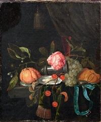 stillleben mit orange, trauben, kirschen und geöffneten austern, einem weinglas auf einem drapierten tisch by gillis jacobz van hulsdonck