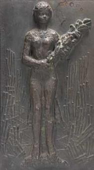 kvinne med blomster by ornulf bast