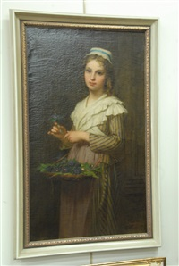 young maiden with basket of flowers by pierre francois bouchard