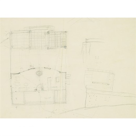 sketch of house for david whitney scheme b by philip cortelyou johnson