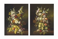 roses, daisies and other blooms in a wicker basket, with grapes and peaches on a ledge (2 works) by jan frans van dael