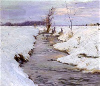 a stream in a snow covered landscape by hans josef becker-leber