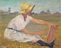festőnő a szabadban by jános tornyai