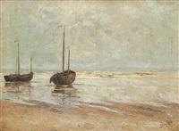 barques de pêche à marée basse by henry pieter edward rul