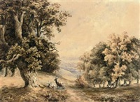 deer resting by a woodland path by joseph murray ince