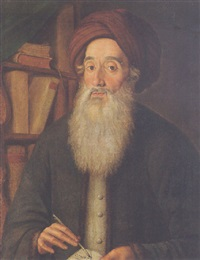 portrait of meyer criskis wearing a grey jacket and a turban, holding a quill and open book, beside a bookshelf by f.w. güte