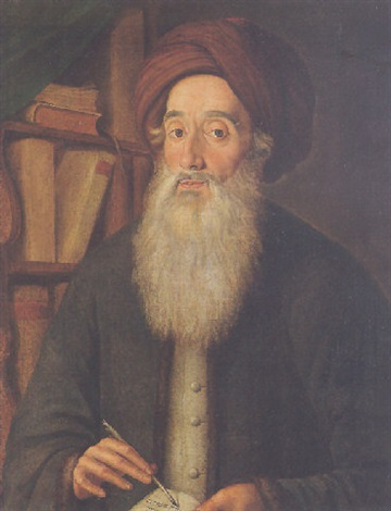 portrait of meyer criskis wearing a grey jacket and a turban holding a quill and open book beside a bookshelf by fw güte