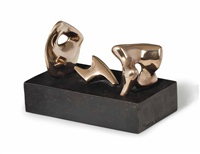 three piece reclining figure: maquette no. 2: polished by henry moore