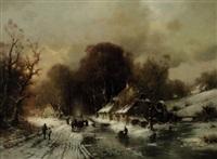 winterlandschaft mit schlittschuhläufern bei einer mühle by günther könig