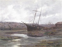 view of falmouth at low tide by frederick golden short