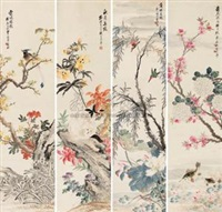 四时花鸟 (birds and flowers) (4 works) by xu qi